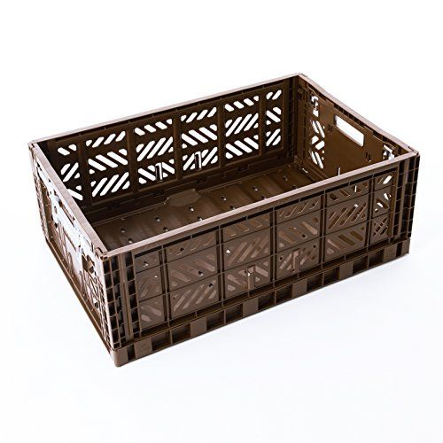 AY-KASA Folding Basket , Collapsible Storage Bin/Container: Storage , Kitchen , Houseware Utility Basket/Tote/Crate Maxi-BOX COMFORT LOCK (BROWN)