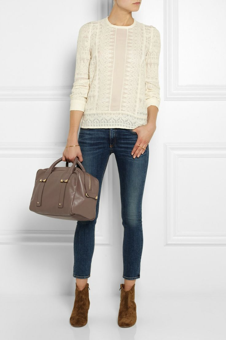 See by Chloé|Daisy textured-leather bowling bag|NET-A-PORTER.COM