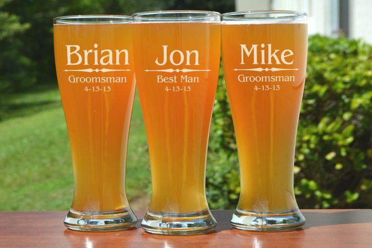 Personalized Groomsmen Gifts, Beer Glasses, Wedding Toasting Glasses, Pint Glasses, 3 Custom Beer Mugs, Gifts for Groomsmen, 16oz Glassware by UrbanFarmhouseTampa on Etsy https://www.etsy.com/listing/154856135/personalized-groomsmen-gifts-beer