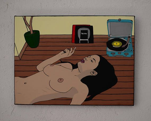 Beautiful girl lying naked on her wooden floor, smoking and listening to music. Handpainted using gouache colours on a 30x40cm canvas. Used permanent markers and ink pens for the details.