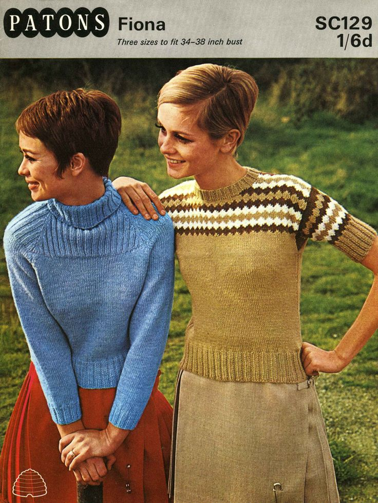 Vintage Skinny with Shetland look, Ladies Sweaters, Polo, Round, Ribbed, Fair Isle Infuence, 1960 (PDF) Pattern, Patons 129 by LittleJohn2003 on Etsy