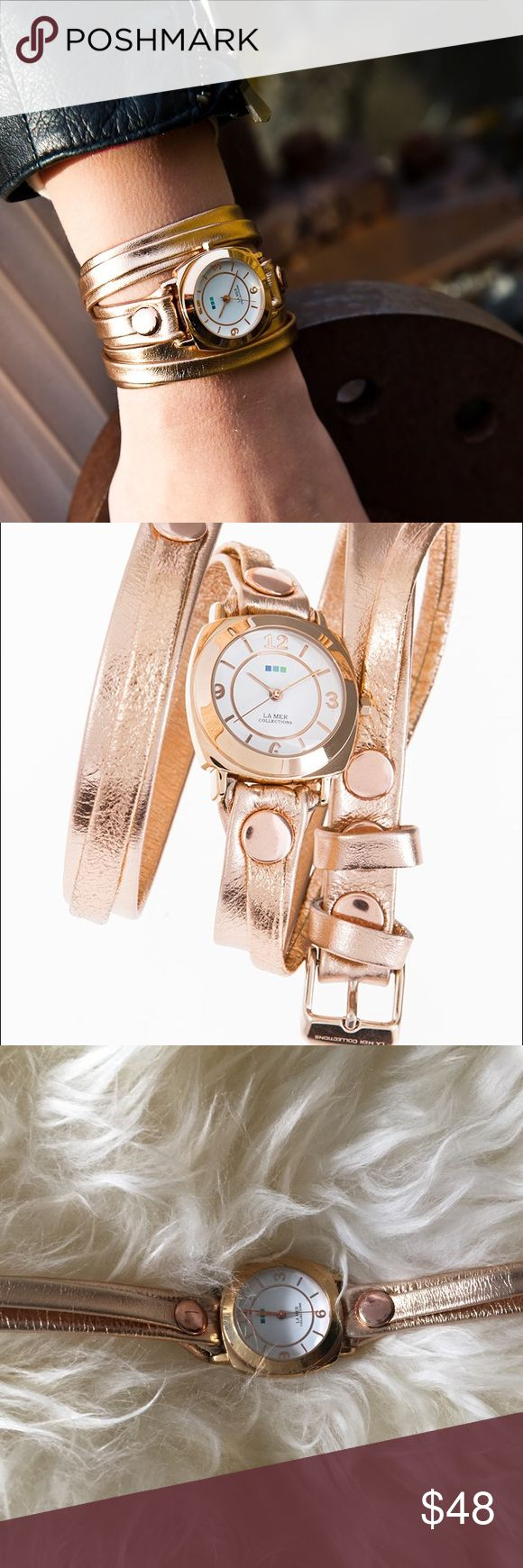 Rose gold double wrap La Mer watch This watch is one of their bestsellers. Only worn twice. Great condition but needs a new battery. La Mer Accessories Watches