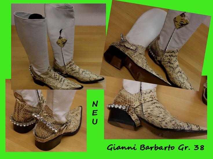 Western Cowboy Boots Stiefel Schlangenleder Nappaleder Gr.38 NEU Gianni Barbato