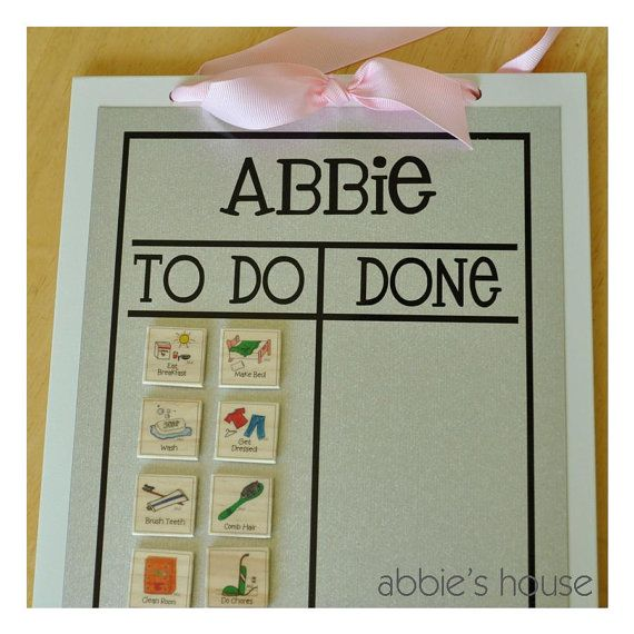 Just ordered this chore chart! You can pick which magnet chores you want. I love how she will be able to look at the pictures and then move the magnets over as she completes her chores. You can also order blank magnets to make your own chores.
