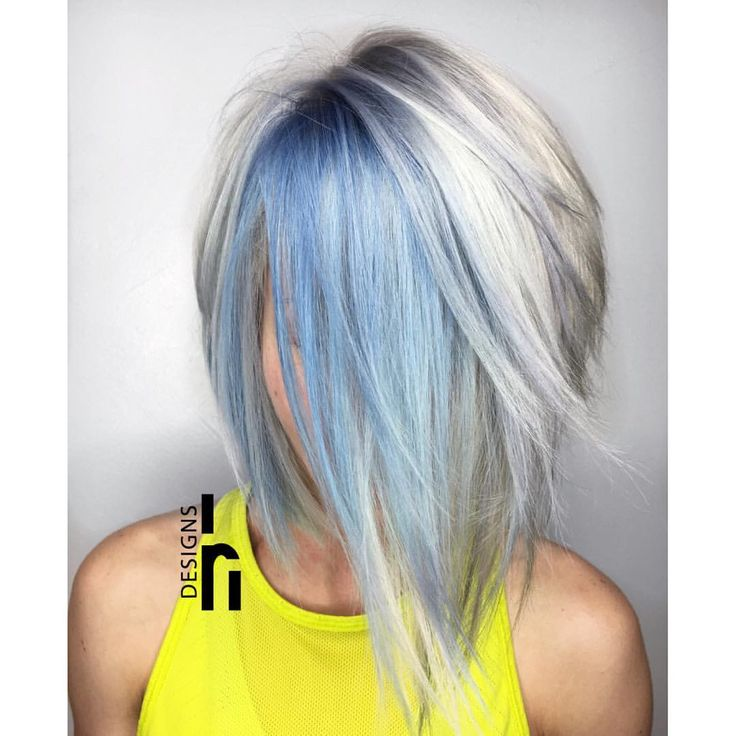 Icy blue and blonde bob