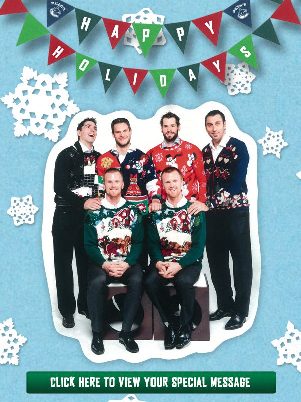 2013 Vancouver Canucks Holiday Card #sportsbiz #uglysweaters