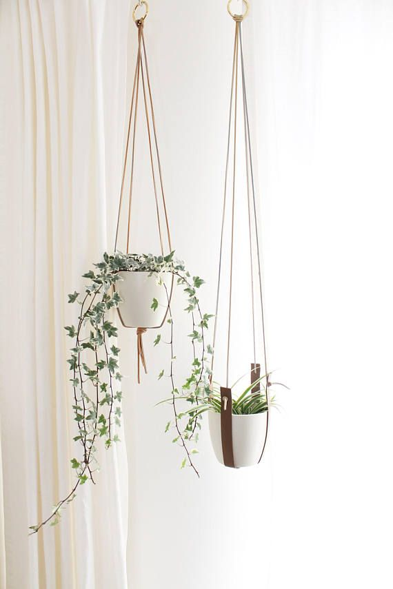 Leather Plant Hanger Set Of Two Mid Century Modern Planter
