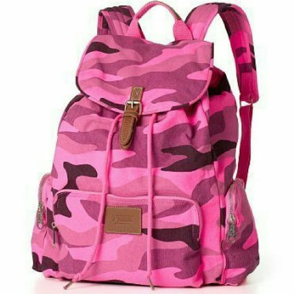 Bright Pink Camo Backpack Preloved but still useable  7/10 condition Not my style anymore. I got a new one and want to get rid of this. PINK Victoria's Secret Bags Backpacks
