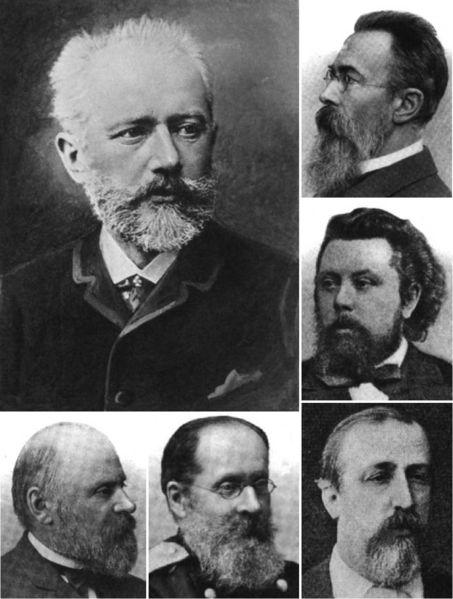 English: Images of Pyotr Ilyich Tchaikovsky (large) and members of The Five: (counter-clockwise from bottom left) Mily Balakirev, César Cui, Alexander Borodin, Modest Mussorgsky, and Nikolai Rimsky-Korsakov.