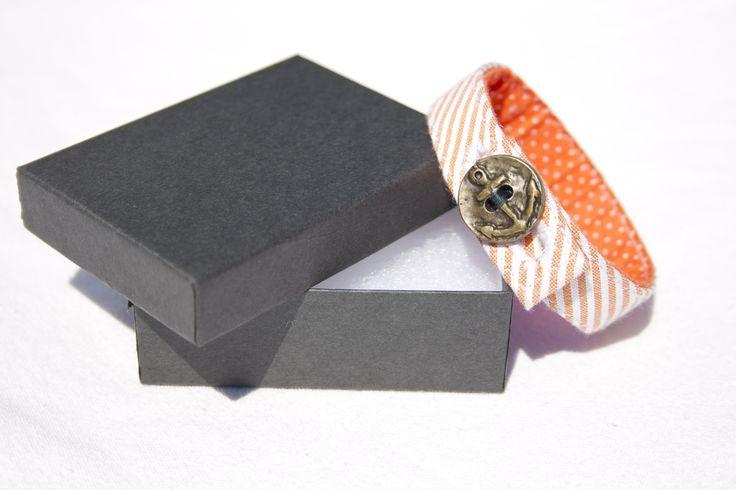 Material Anchor Bracelet - Mango Orange & White