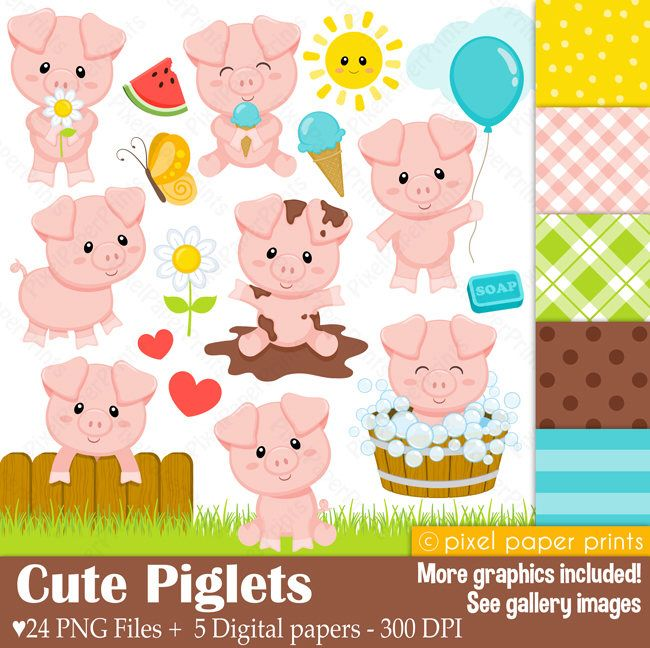 Cute Piglets - Pig clipart - Clip Art and Digital paper set by pixelpaperprints on Etsy https://www.etsy.com/uk/listing/525473115/cute-piglets-pig-clipart-clip-art-and