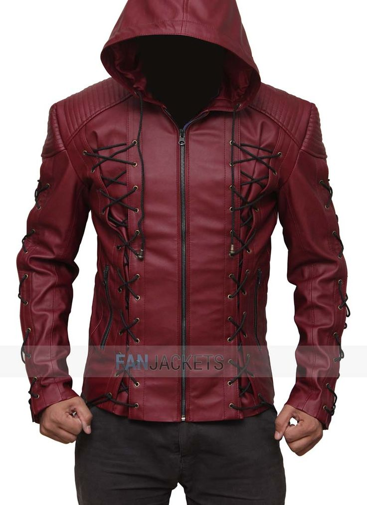 New #RedArrowjacket with hood. Made of best quality leather #Arrow leather jacket with #FreeShipping in US at fanjackets.com