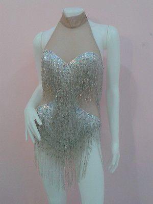 Beautiful Silver Sequin Leotard Diva Show Girl Drag Queen Cabaret Show Dancer