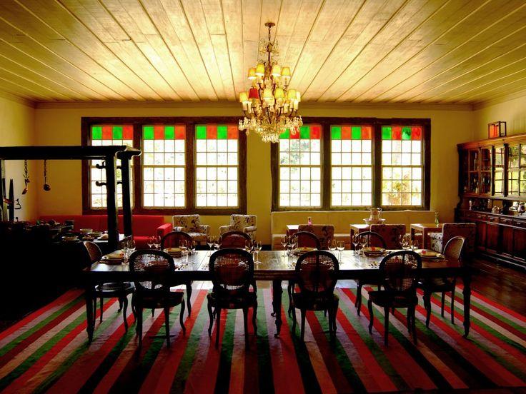 Sala de jantar - os hóspedes se encontram como uma grande família na Reserva do Ibitipoca.