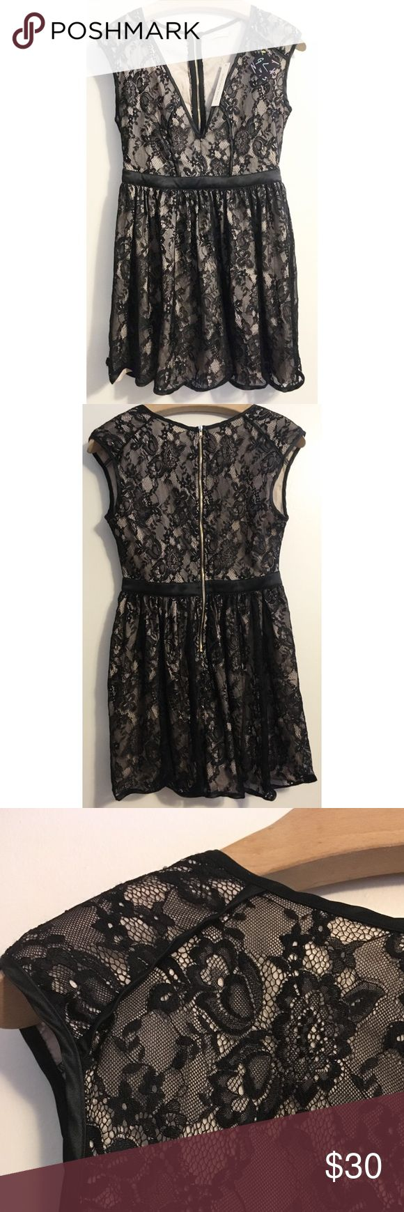 Mustard Seed Nasty Gal black lace deep vneck dress Mustard Seed black floral lace, sleeveless, deep V-neck dress from Nasty Gal. Size medium. Gold zipper. Cream color lining . NWT. ⭐️Host Pick for the Insta Chic Party 7.20.17!⭐️ Mustard Seed Dresses