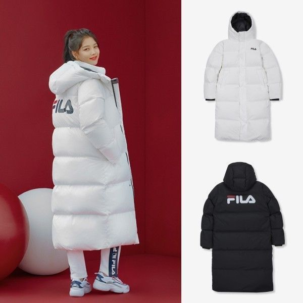 FILA Ace Logo Long Down Winter Heat Coat Padding Jumper