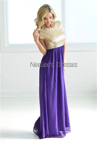 The most beautiful Eggplant and Gold Sequin Dress! Love this for bridesmaids and formal events!