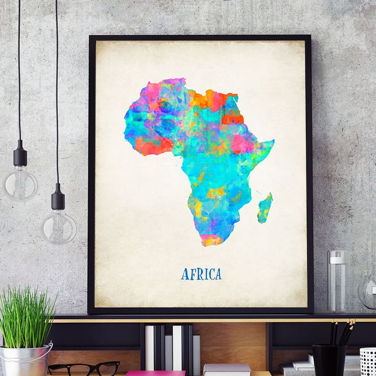 Africa Map Print, Map of Africa Wall Art, African Map, Watercolour Africa Map Print, Colorful Africa Map Poster, Nursery African Decor (717) by PointDot on Etsy