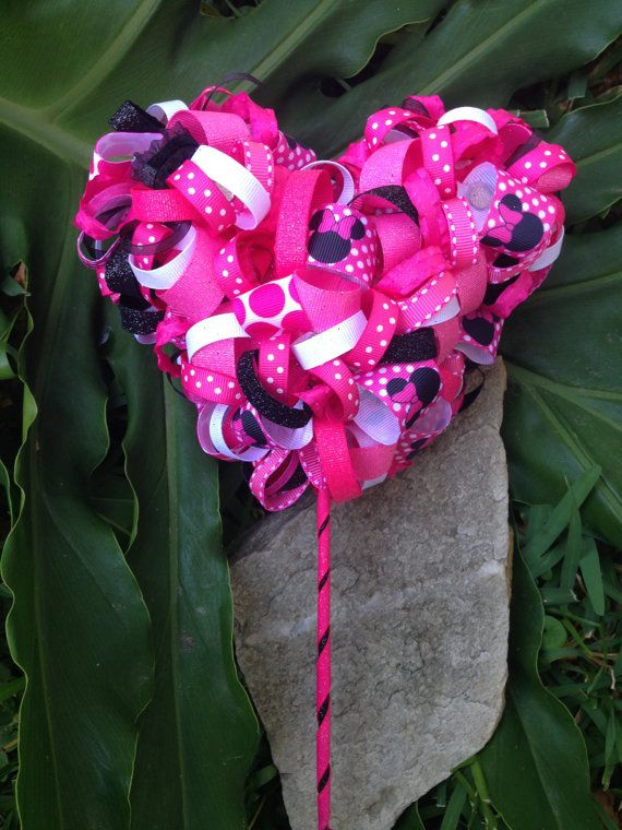 Minnie Mouse Head Ribbon Topiary Wand by LaChateauDelights on Etsy