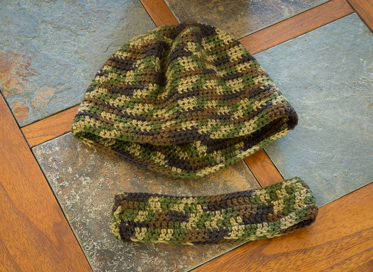 Crocheted camo beanie and ear warmer Customizable colors: Green camo Pink camo Sizes infant to adult