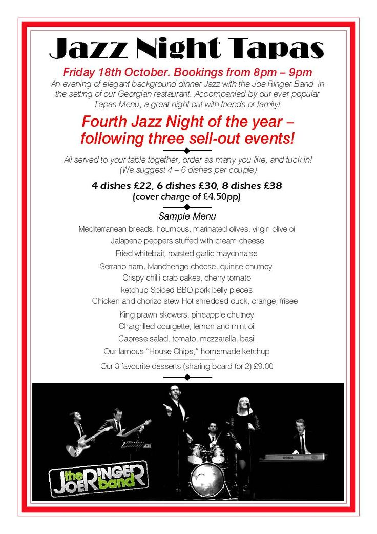 Jazz night tapas at Assembly House Norwich