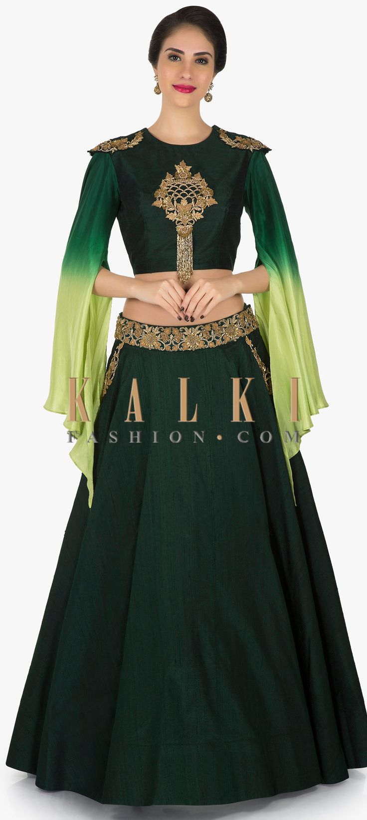 Bottle green lehenga in raw silk adorn in zardosi and sequin embroidery work only on Kalki