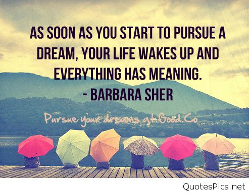 Inspirational dreams quote with Barbara Sher