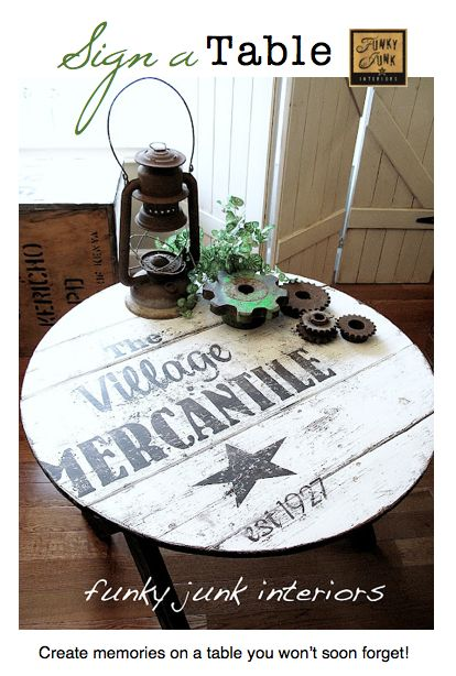 Create a TABLE TOP SIGN... with a story. via Funky Junk InteriorsIdeas, Coffee Tables, Side Tables, Vintage Signs, Funky Junk Interiors, Outdoor Tables, Furniture, Old Signs, Funkyjunk