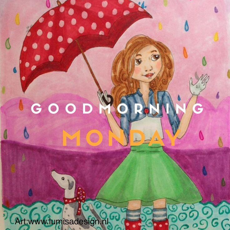 Deze regenachtige ochtend wil ik graag beginnen door iedereen een goede maandag te wensen! Groetjes Sanna van LumisaDesign  Breng eens een bezoekje aan Www.lumisadesign.nl voor meer mooie illustrat
