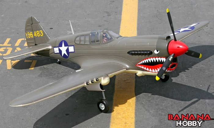 BananaHobby - 6 CH FMS Giant Green P-40 Warhawk Radio Remote Control Electric RC Warbird Airplane KIT