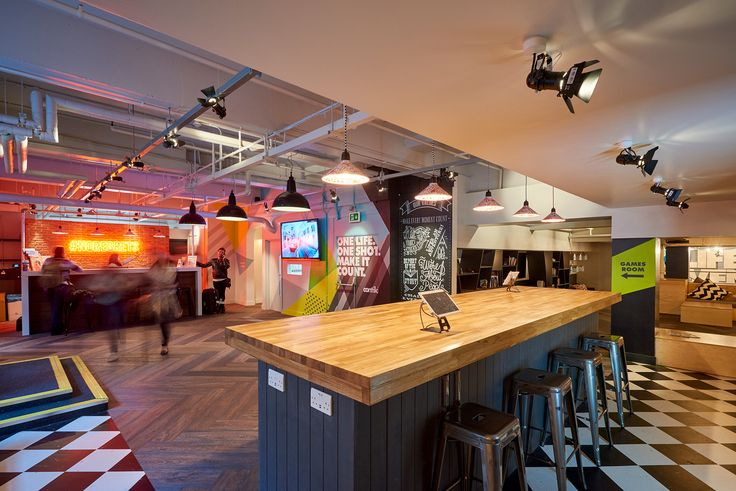 Contiki Basement - Office hand-painted mural #typography #interiorgraphics