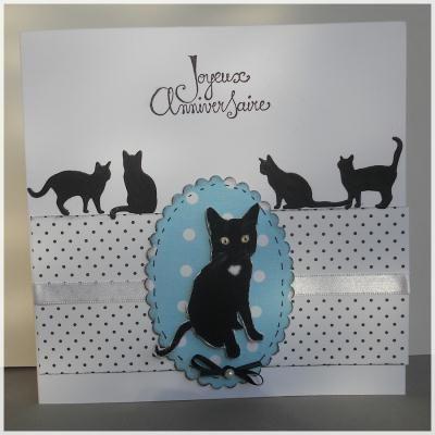 Création carte d'anniversaire - chat noir