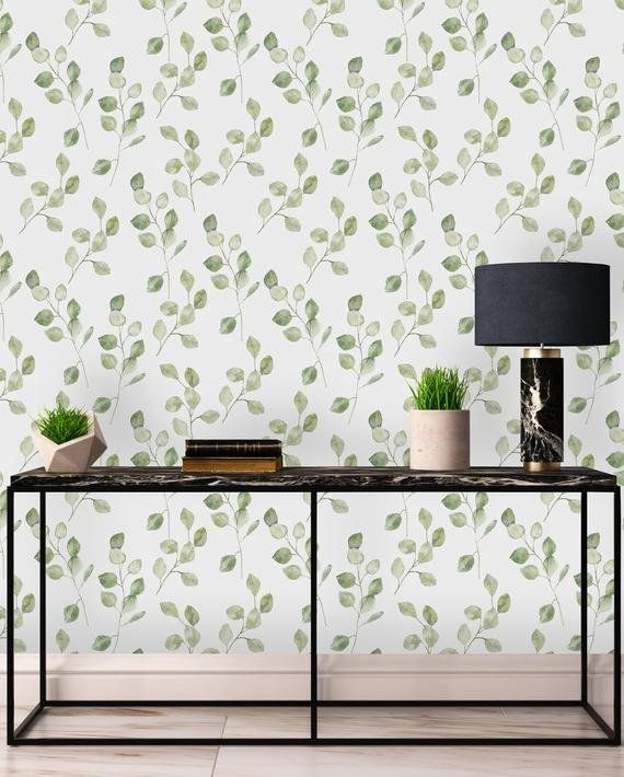 Lilwen Removable Green Leaves On White Background 4 17 L X 25 W Peel And Stick Wallpaper Roll Removable Wallpaper Peel And Stick Wallpaper Wallpaper Roll