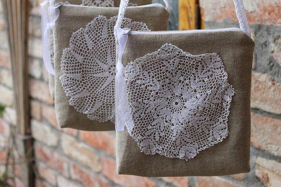 Burlap pouch Bridesmaid purse ,vintage crochet linen mini bag,purse Wedding accessories #lace #pouch #women #nature #handmade #vintage #bag #wedding #flowers #bridesmaid #weddingparty #purse
