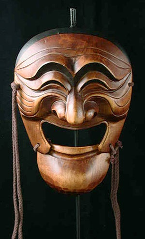 Yangban mask from Hanhoe, Korea    - follow the lines of the face up to the horns?