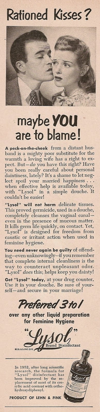 lysol douching method for women in Both health providers and women are often poorly informed about details of this  practice methods: we  of douching practice, douching methods used, timing of  use, and motivation  early 1900s, when such companies as lysol in.