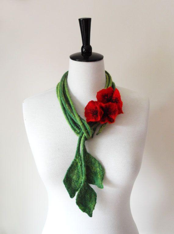 Fiber Felt Necklace Poppy Flower Bib Necklace by softadditions, £28.00