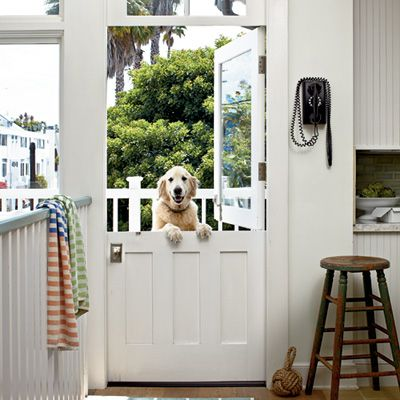 """I used to have one of these at another house in the laundry room.  Cats could jump over it to get to their """"box"""" and food, dogs stayed out.  ;-) Dutch Door + Glass Top (ours wasn't glass, but I love Dutch doors)"""