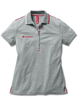 Women's Audi Sport polo shirt light grey.    Available from: http://www.m25audi.co.uk