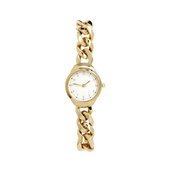 H&M Watch ($23) ❤ liked on Polyvore featuring jewelry, watches, h&m jewelry, h&m, metal jewelry, bracelet watches and h&m watches