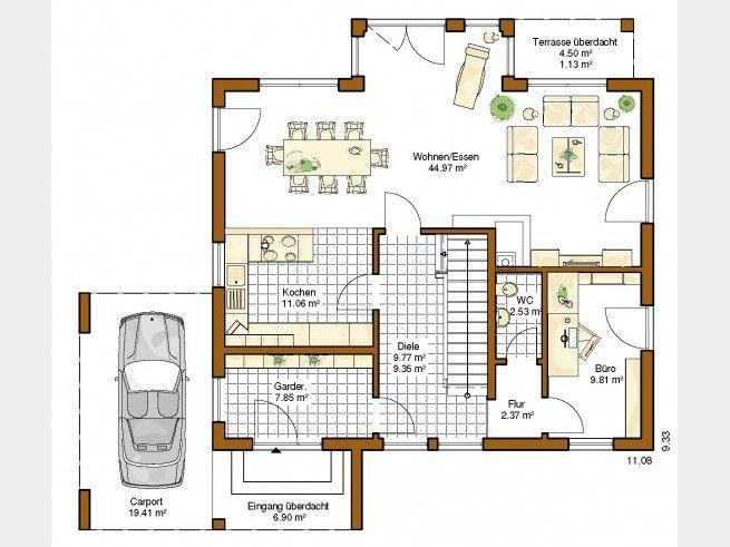 Grundriss EG Innovation R (R140_2_V26) #Einfamilienhaus von RENSCH-HAUS GmbH. Überdachte Terrasse, überdachter Eingang, offene Küche und großzügige Diele machen diese mediterrane Stadtvilla zu etwas ganz Besonderem. #floorplan