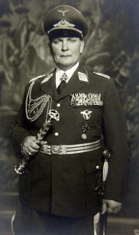Nazi Reichsmarschall Hermann Göring was a WW1 fighter ace. After helping Hitler take power in 1933, he became the second-most powerful man in Germany. Founded the Gestapo in 1933; later gave command to Heinrich Himmler. Was ppointed commander-in-chief of the Luftwaffe. After the war, Göring was convicted of war crimes at the Nuremberg trials. He was sentenced to death by hanging, but committed suicide by ingesting cyanide the night before the sentence was to be carried out.