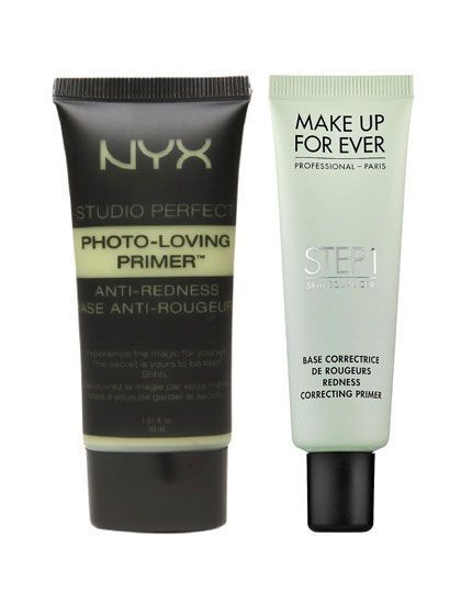 Color-Correcting Primer - NYX Studio Perfect Photo-Loving Primer Anti-Redness AND Make Up For Ever Step 1 Skin Equalizer Redness Correcting Primer | allure.com