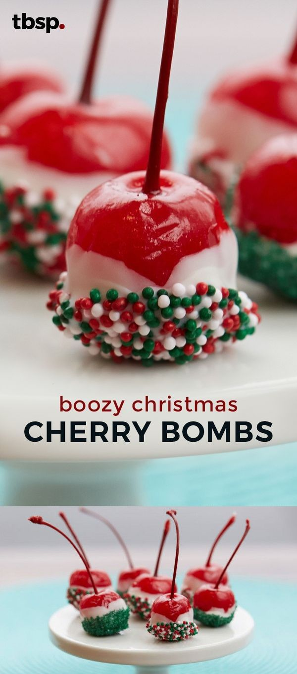 1 tbsp Crystallized sugar and holiday nonpareils, green. 1 jar Maraschino cherries with, red stems. 1/2 cup Vanilla flavored vodka. 2 Squares (about 3 oz vanilla-flavored candy coating (almond bark, chopped (from 20-oz package.