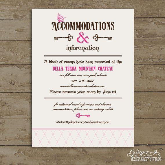 Wedding Accommodation Card wording