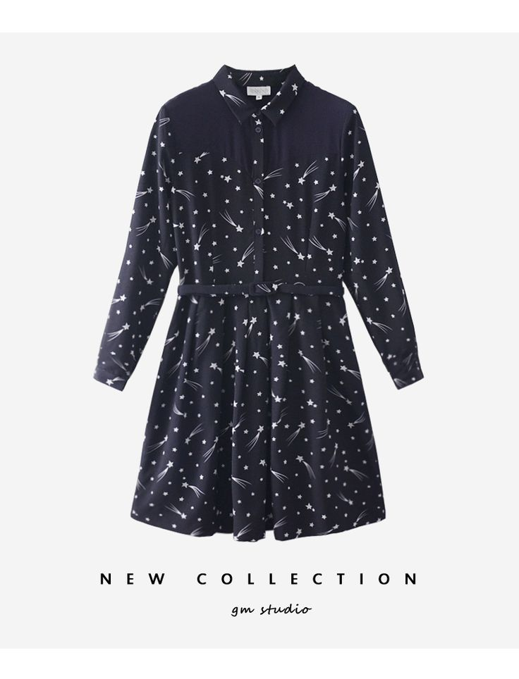 Лидирующий ниша одного продукта / Франция ретро яркие звезды / метеора шелка шить с длинными рукавами платье была тонкая талия - Taobao