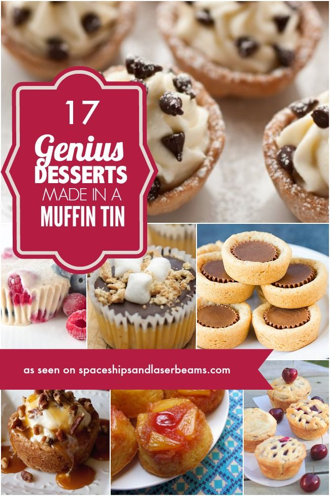 17 Genius Desserts Made in a Muffin Tin. The Pampered Chef mini muffin tin would work great. www.pamperedchef.biz/marywachsmuth