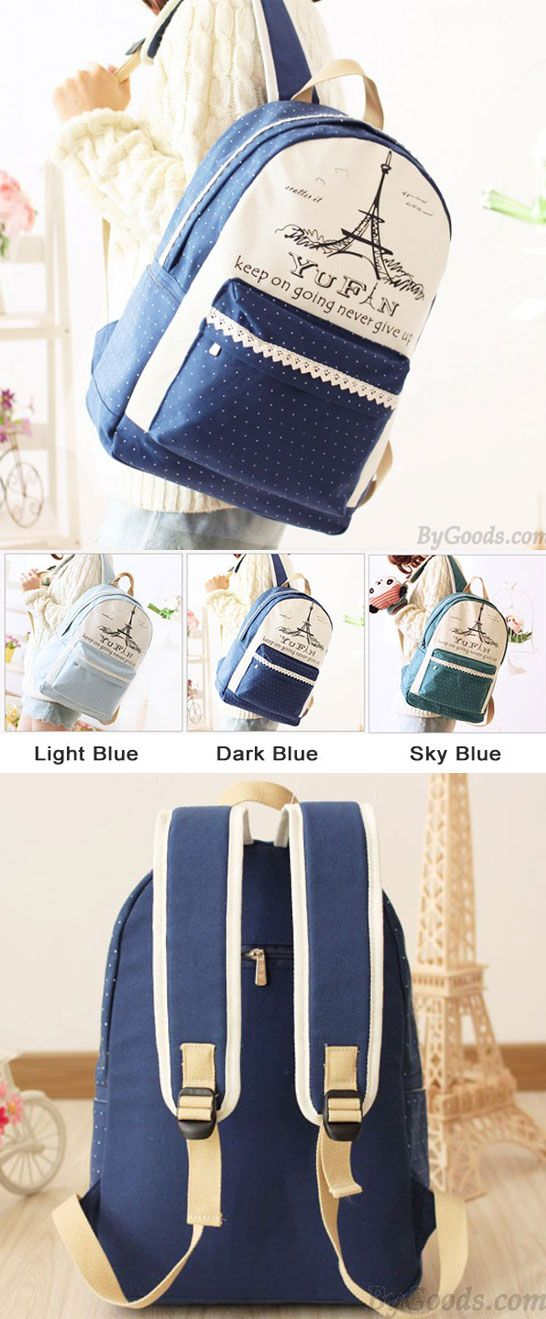 Fresh Lace Polka Dots School Rucksack Eiffel Tower College Canvas Backpack for big sale~  #tower #eiffel #dot #lace #backpack #bag #school #college #student #rucksack #travel