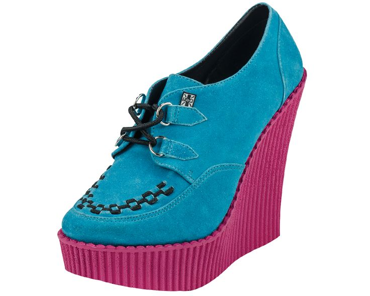 Turquoise Suede  Pink Creeper Wedge
