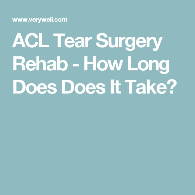 ACL Tear Surgery Rehab - How Long Does Does It Take?